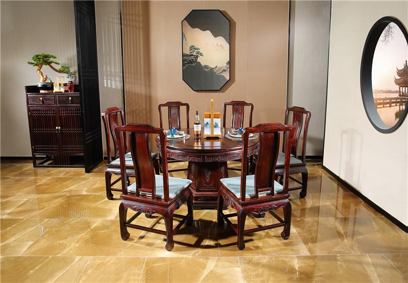 陕西赞比亚血檀圆餐桌