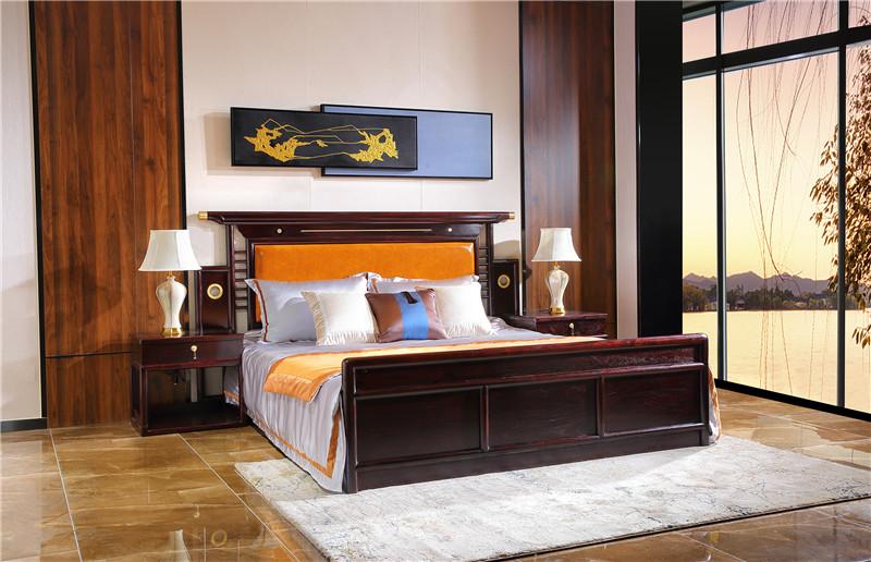 血檀卧房大床新中式图片及款式