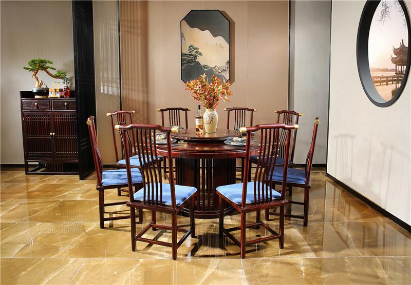 西安新中式红木圆餐台餐桌图片