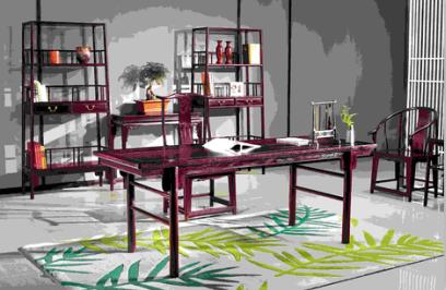 西安红木家具,西安赞比亚紫檀书桌