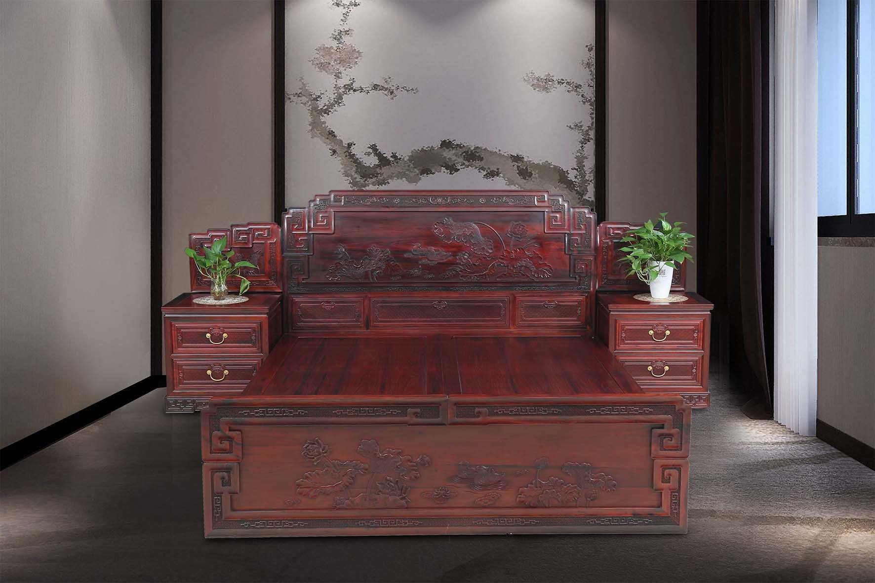 西安红木家具,西安红酸枝大床