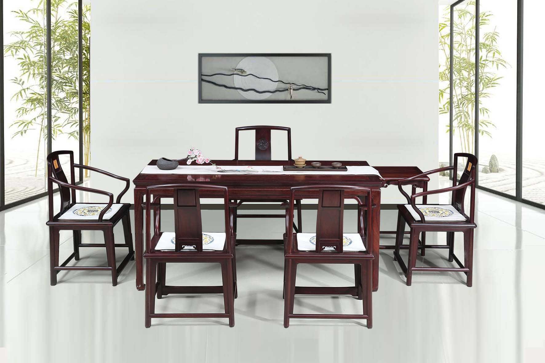 西安红木家具,红酸枝茶台