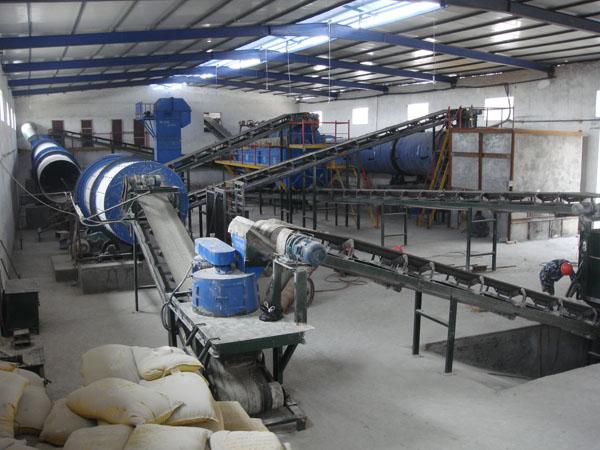 运行中的复合肥生产线