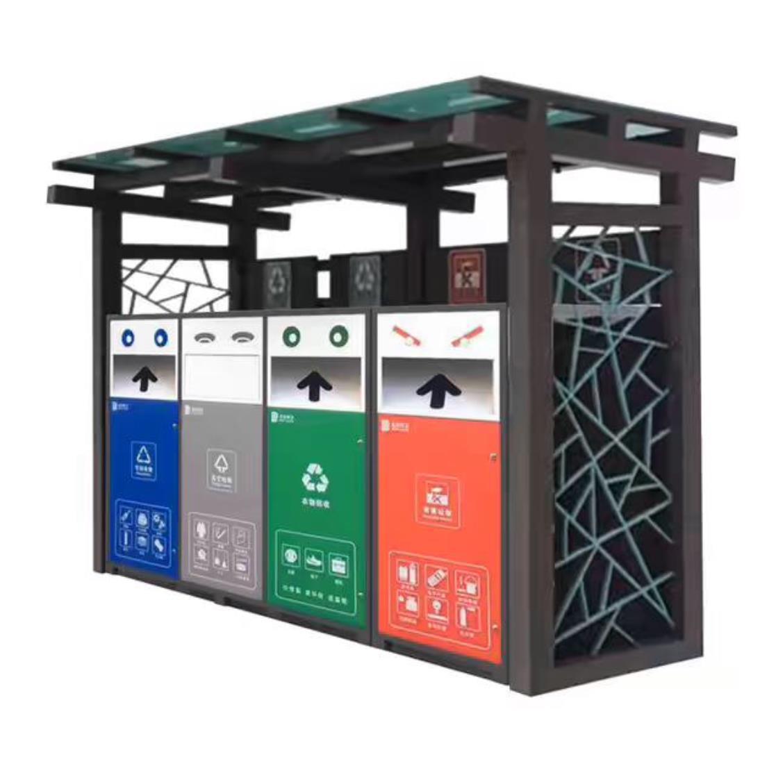 环保分类垃圾箱样式新颖,投入使用!