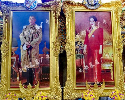 泰国国王、王后的喷绘画