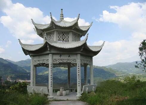 襄阳鹿门寺风景区石材凉亭