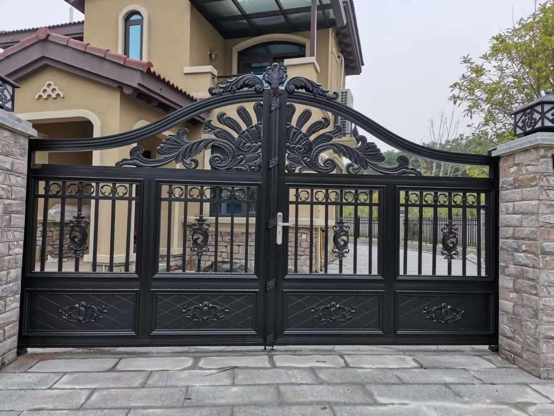 某小区别墅定制湖北铝艺庭院门安装效果分享