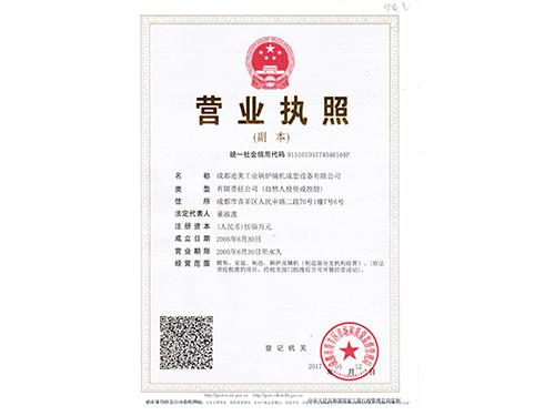成都迪美工业锅炉营业执照