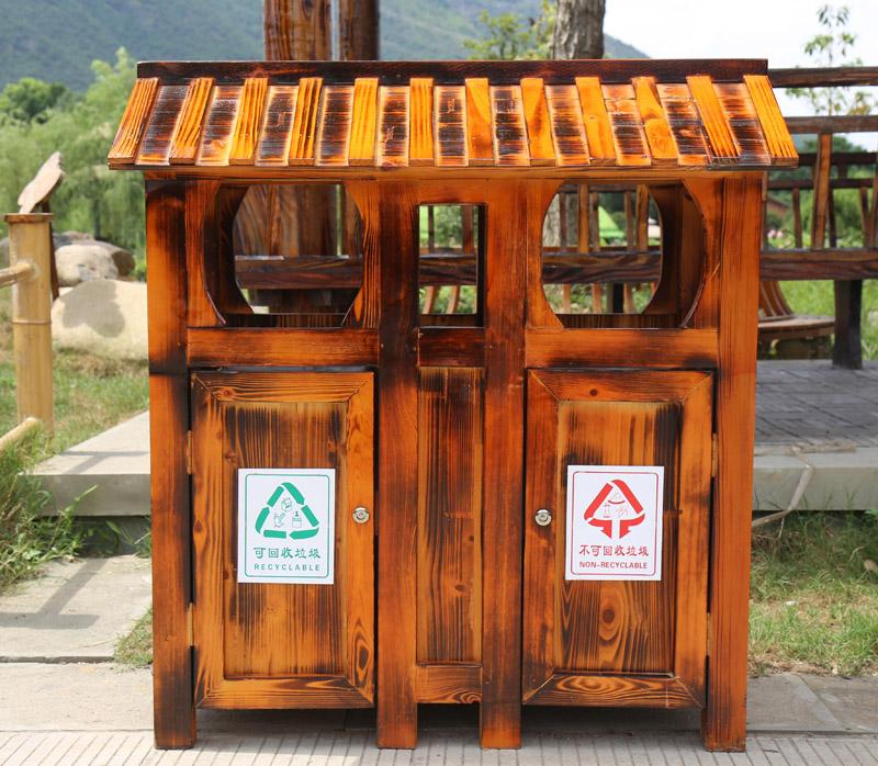 兰州防腐木垃圾箱案例