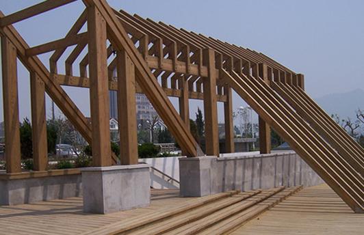 定西名仕广场兰州防腐木廊架建设完工
