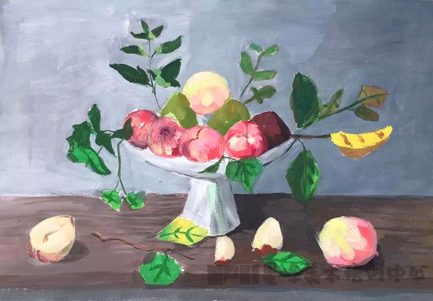 静物写生-桌子上的果盘-少儿作品