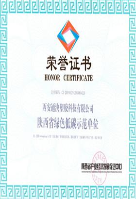 西安通泱塑胶科技有限公司荣誉证书
