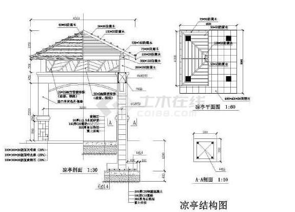 防腐木木凉亭设计图