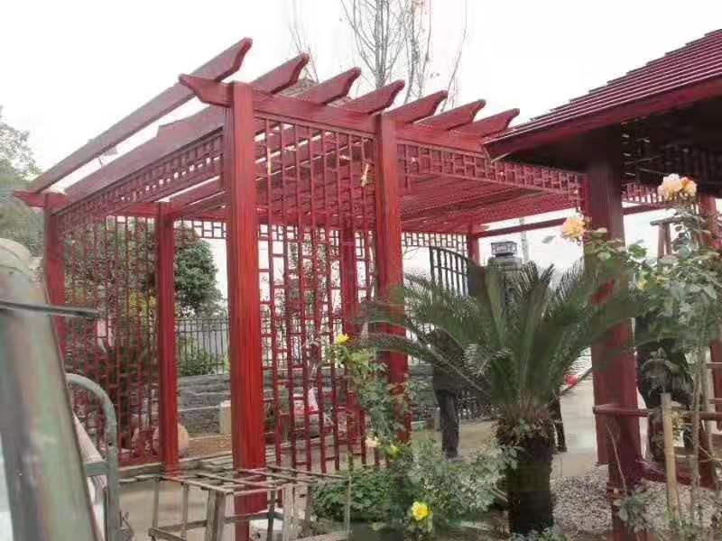 赤壁全铝木纹色红酸枝凉亭葡萄架阳光房