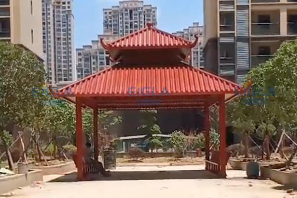 武汉新洲双层四角凉亭项目