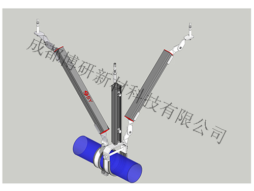四川水管抗震支架-水管单吊式双向支架