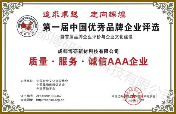 中国优秀品牌企业评选荣誉证书