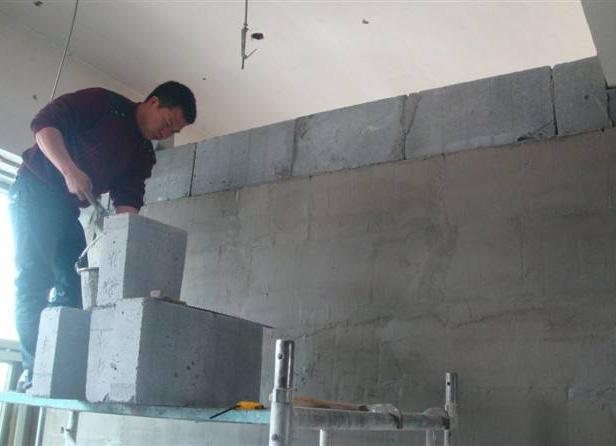 加氣磚隔墻施工現場