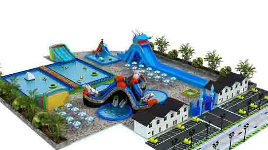 移动水上乐园的辅助设施展示图