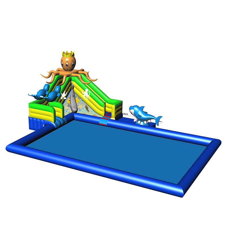 卡通海洋世界图案充气水池移动乐园