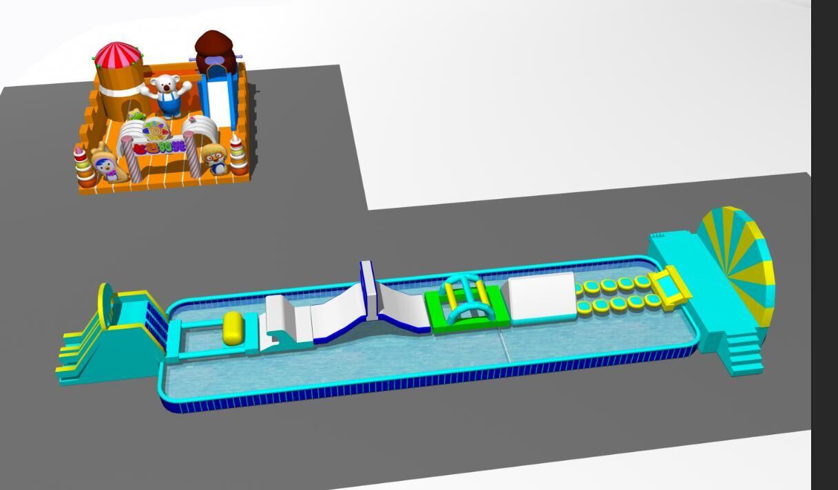 厂家可定制提供大型户外移动水上乐园