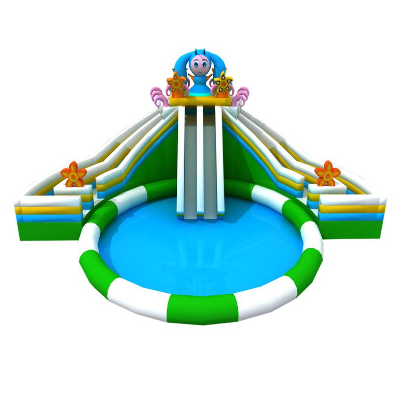 新款可爱仙女充气滑梯水池组合移动乐园