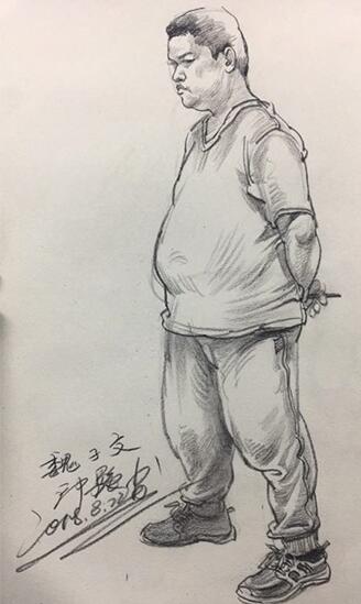 教师速写作品--大肚子男人