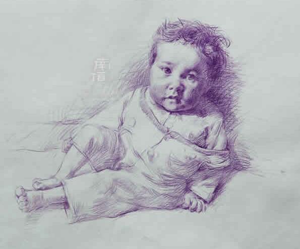 教师素描作品--小孩子