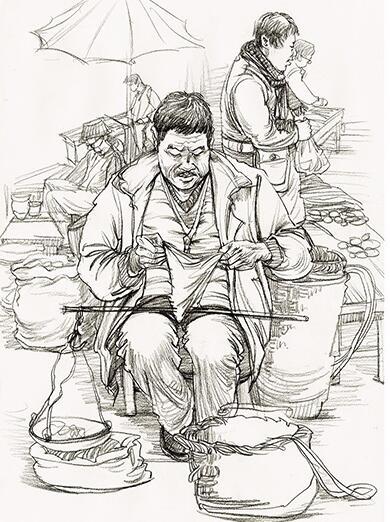 教师速写作品--看书的老人