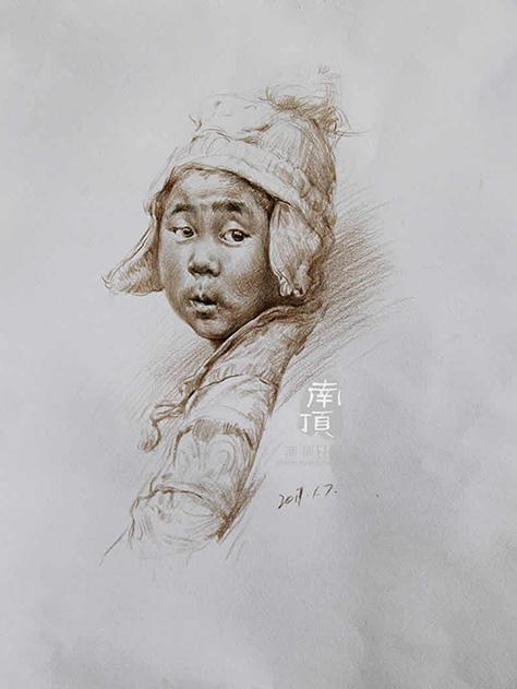 教师素描作品--戴帽子的男孩