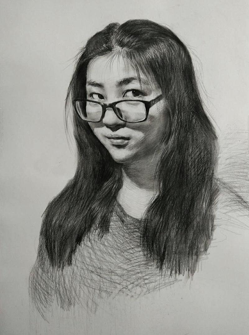 女青年素描-兰州.好的画室作品