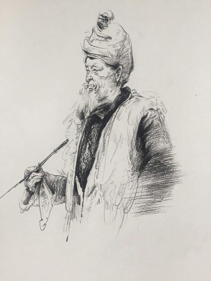 兰州培蕾画室作品展示-抽烟老人