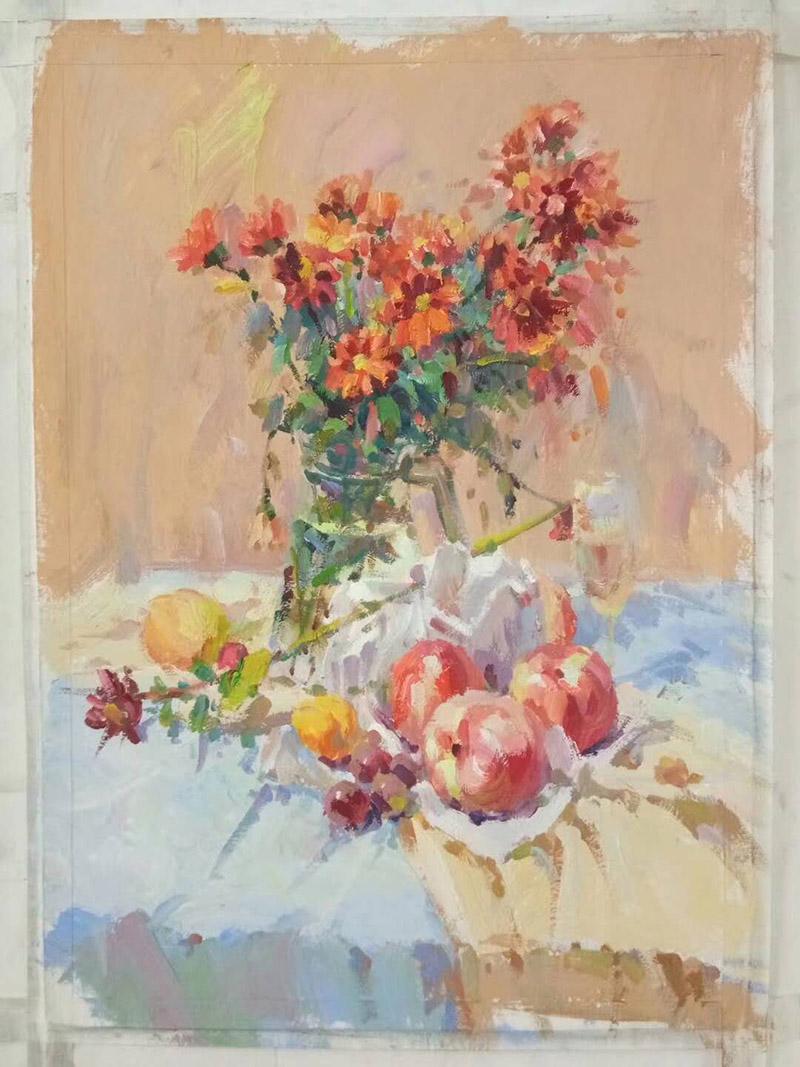 色彩作品之兰州画室作品-红色花卉色彩