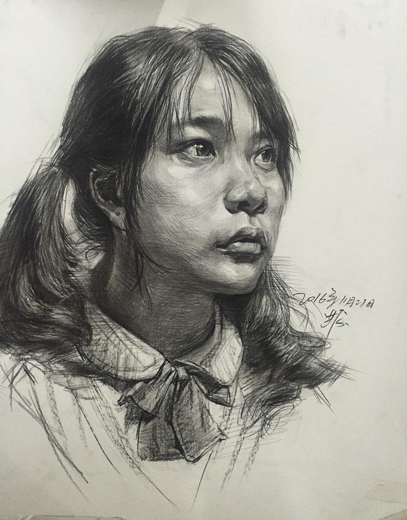 兰州培蕾画室作品-女轻年素描