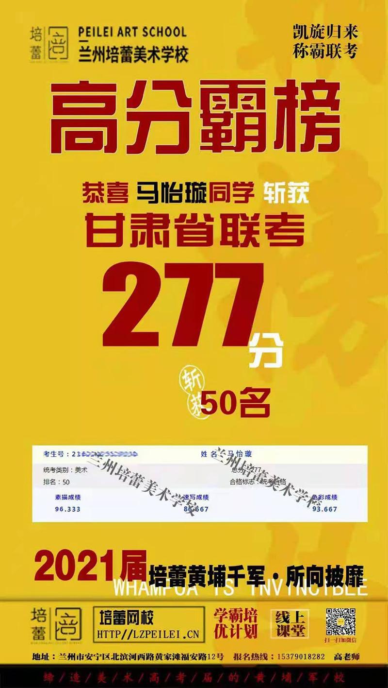 恭喜马怡璇同学斩获甘肃联考277分,第50名