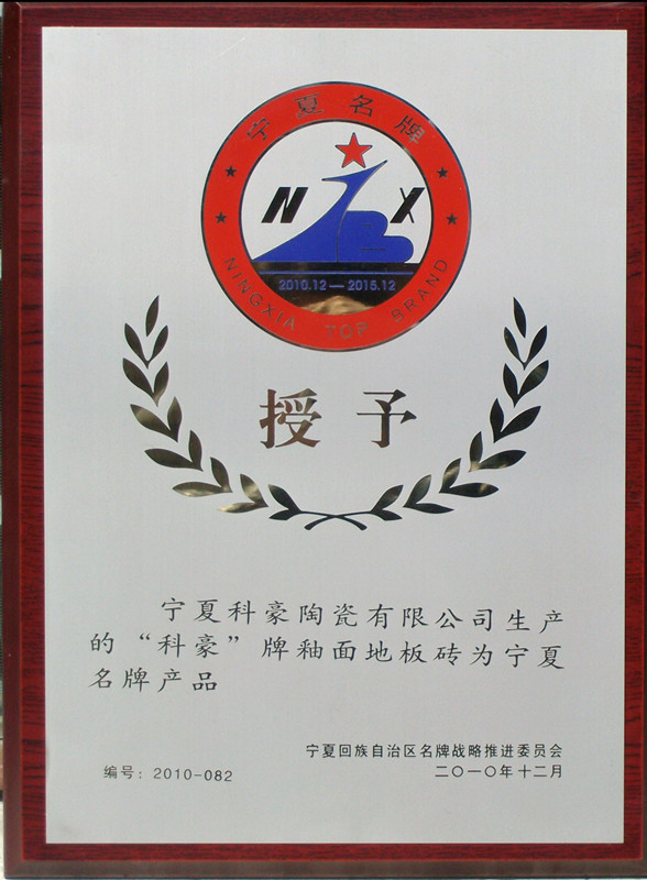 地板砖2010年宁夏名牌商标