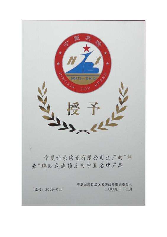 欧式连锁瓦2009年度宁夏名牌商标