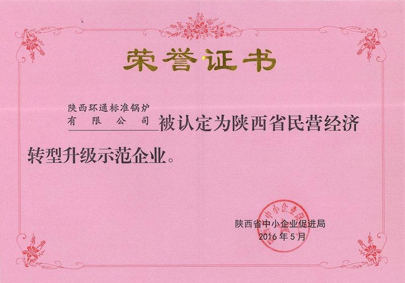 中小型企业转型荣誉证书