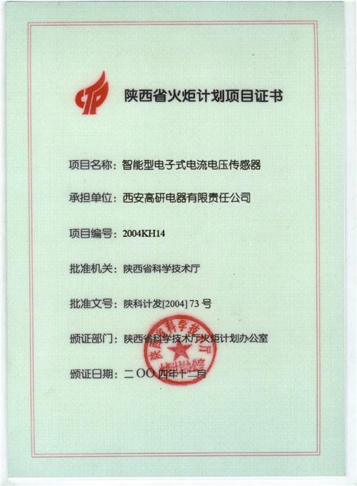 陜西省火炬計劃項目證書