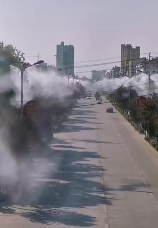 蚌埠路灯杆喷雾除尘案例