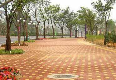 什邡紅白鎮廣場鋪設的道路彩磚的鋪設工程
