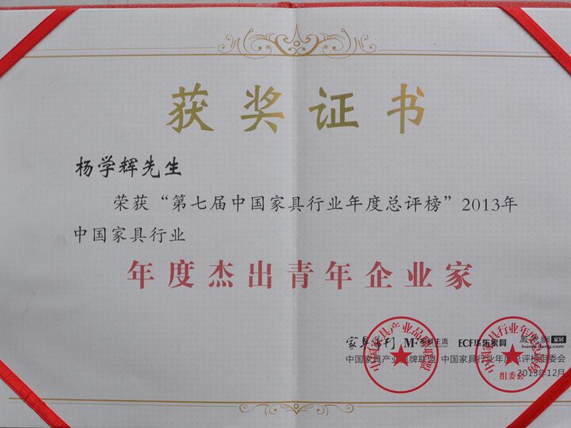 年度杰出青年企业家获奖证书