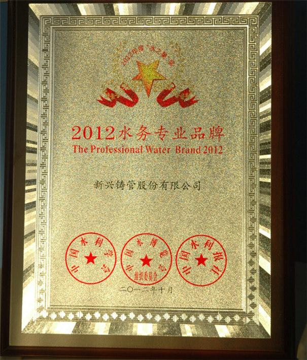 新兴铸管获得2012中国水务专业品牌