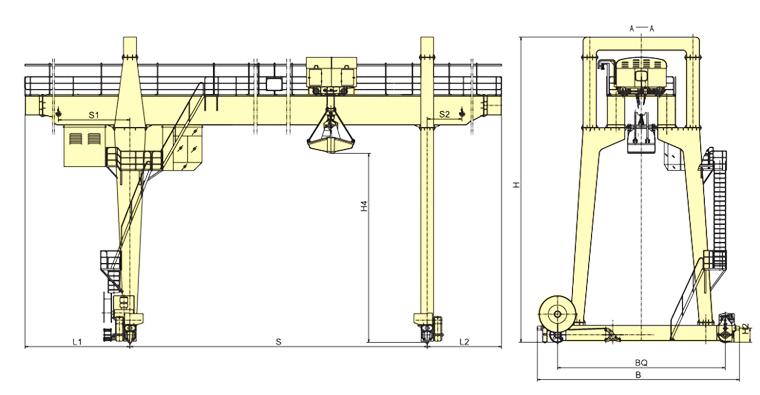 MZ型5~10噸雙梁抓斗門式起重機