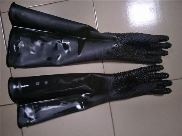 噴砂防護手套-黑色高耐磨橡膠手套