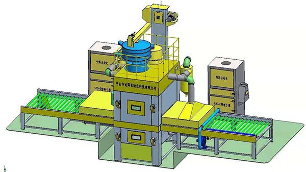 单仓双面喷砂机三维效果图|可参考定制同款