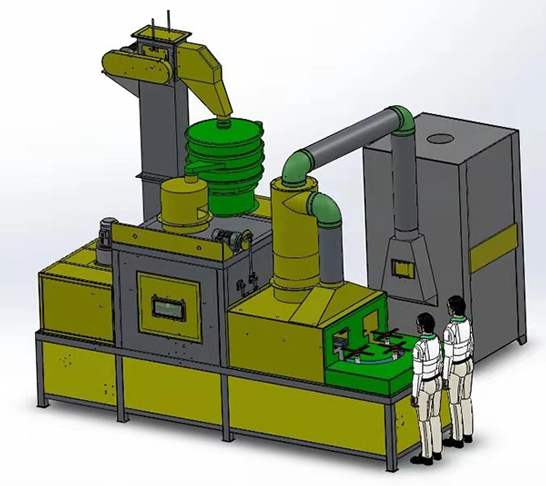 提升通过式喷砂机三维产品效果图展示