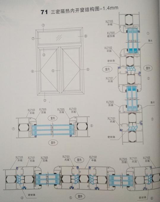 71三密隔热内开窗结构图