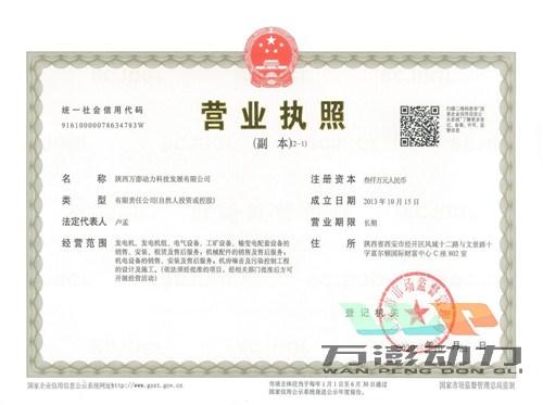 陕西万澎动力科技发展有限公司营业执照