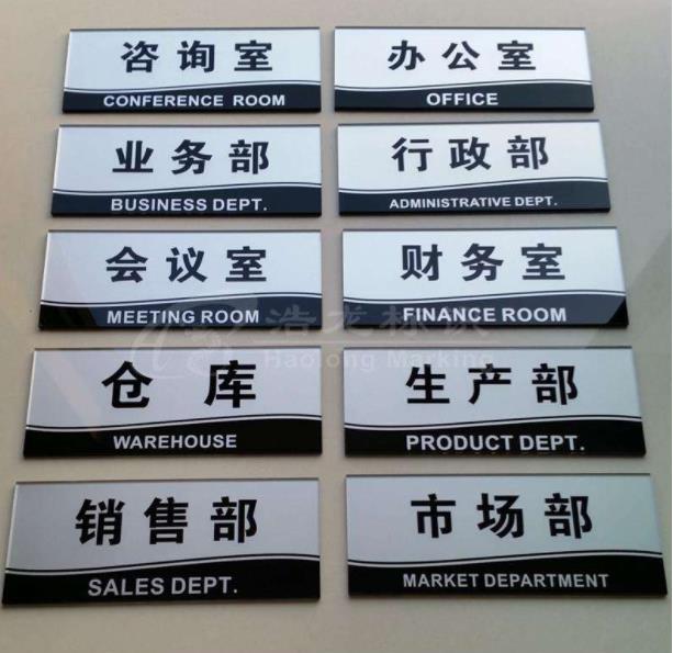 兰州某公司办公室部门分类牌